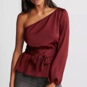 Express burgundy one shoulder blouse size XS